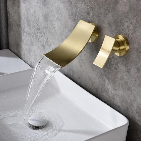 Global Pronex Waterfall Tub Faucet, Wall Mounted Bathtub Filler Single Handle Bathroom Roman Tub Valve, Brass