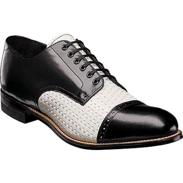 385bc89d595 Stacy Adams Men's Madison Cap Toe Oxford 00070 Black/White Woven Print  Kidskin Leather