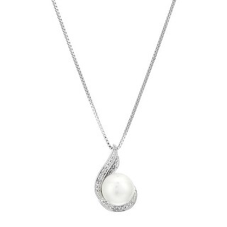 9 mm Freshwater Cultured Pearl Double Swirl Pendant with Diamonds in Sterling Silver
