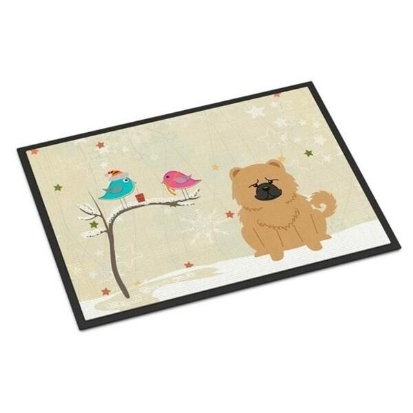 Carolines Treasures BB2616MAT Christmas Presents Between Friends Chow Chow Cream Indoor or Outdoor Mat 18 x 0.25 x 27 in.
