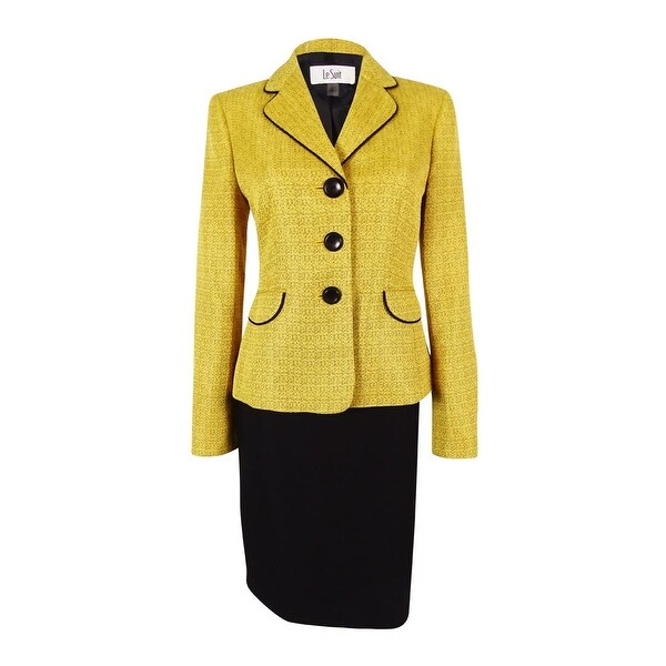 Le Suit Women's Monte Carlo Contrast Trim Skirt Suit (4, Gold Leaf/Black) - gold leaf/black - 4
