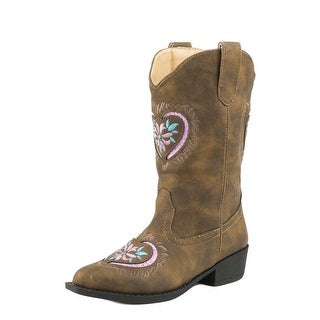 Roper Western Boots Girls Daisy Heart Pink Brown 09-018-1556-1117 BR