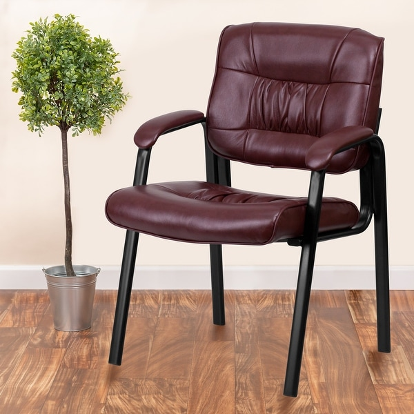 """LeatherSoft Executive Side Reception Lounge Chair with Titanium Gray Frame - 23.25""""W x 26""""D x 36""""H. Opens flyout."""
