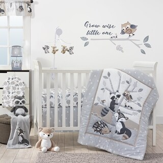 Bedtime Originals Little Rascals Gray/Tauper/White Woodland Animals and Tree 3-Piece Baby Crib Bedding Set