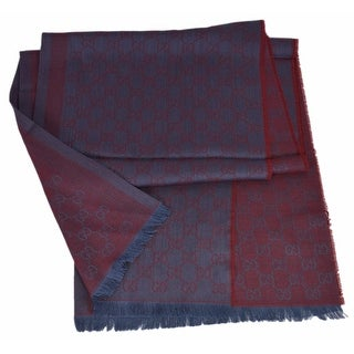 "Gucci 282390 Large Lacquer Sky Blue Wool Silk GG Guccissima Logo Scarf Shawl - 28"" x 78"""