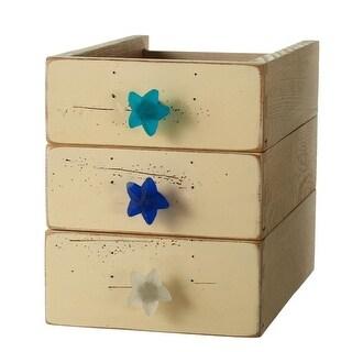 "Club Pack of 12 Green and Blue Decorative Sea Starfish Glass Knob 3"""