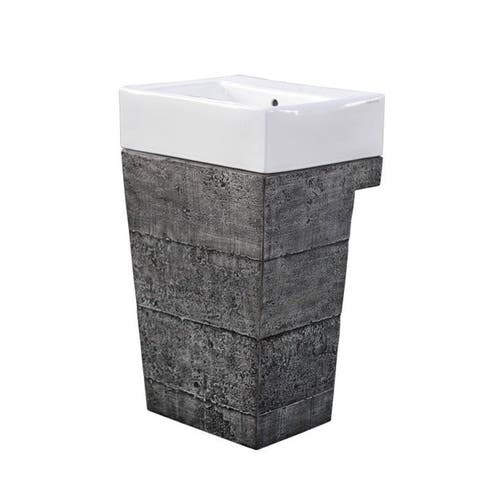Earth D Outdoor Pedestal Sink Sinlge Vanity - Cement Finish