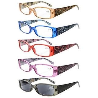 Eyekepper 5-Pack Spring Hinges Tiger Patterned Temples Reading Glasses Sun Readers +2.75