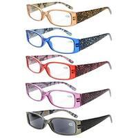 Eyekepper 5-Pack Spring Hinges Tiger Patterned Temples Reading Glasses Sun Readers +4.0