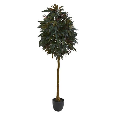 Nearly Natural Home Decorative 6' Red Mango Leaf Artificial Faux Tree - Not Available