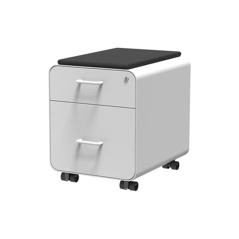 Monoprice Round Corner 2-Drawer File Cabinet - White, Lockable With Seat Cushion - Workstream Collection