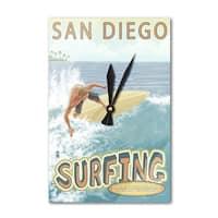 San Diego, CA - Surfer Tropical - LP Artwork (Acrylic Wall Clock) - acrylic wall clock