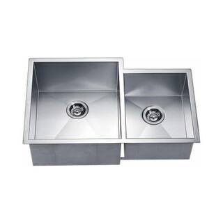 Dawn DSQ311815R Dual Mount Square Double Bowl, Small Bowl on Right
