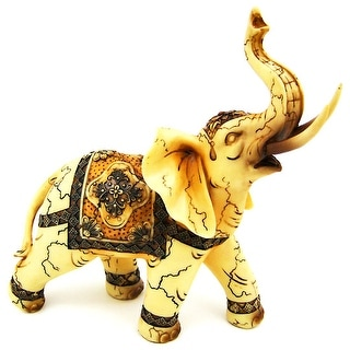 Beautiful Indian Elephant Statue Figure Good Luck - 9.75 X 9.5 X 4 inches