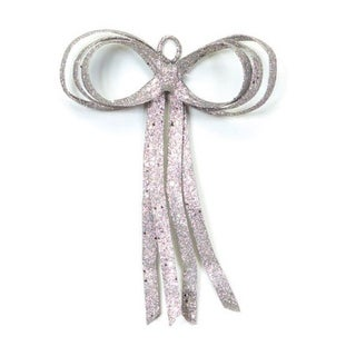 """16"""" Christmas Brites Glitter Drenched Silver Bow Decoration"""
