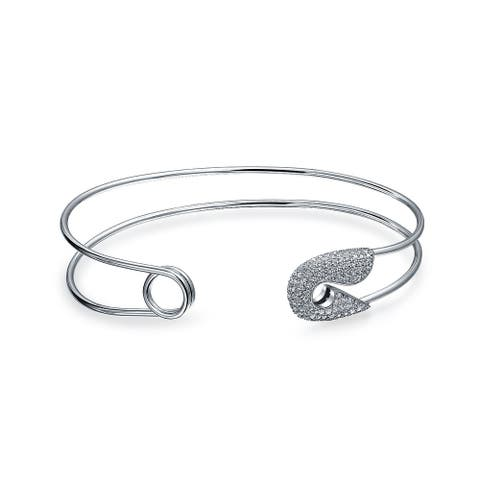 Symbol Of Support For Refugee CZ Pave Safety Pin Bangle Cuff Bracelet For Women For Teen 925 Sterling Silver