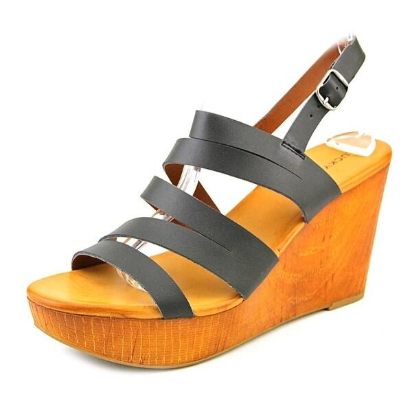 Lucky Brand Marinaa Women Open Toe Leather Wedge Sandal