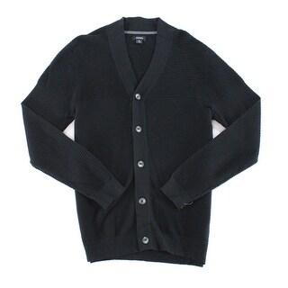 Alfani Deep Black Mens Size Medium M Ribbed Cardigan Sweater