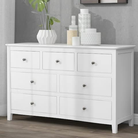 7 / 5 Drawers Solid Wood Dresser in White