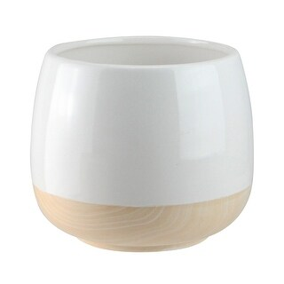"""5.5"""" Shiny White and Textured Faux Wood Grain Round Decorative Planter - Brown"""
