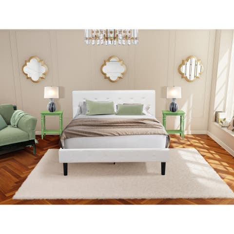 3 Piece Bedroom Set - 1 Wood Bed White Velvet Fabric and 2 Night Stands - Clover Green Finish Nightstand