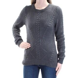 Womens Gray Long Sleeve Jewel Neck Casual Sweater Size XS