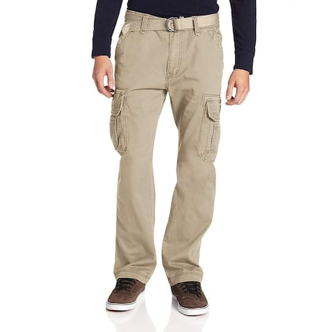 Unionbay Mens Pants Beige Size 44x30 Belted Button-Front Stretch