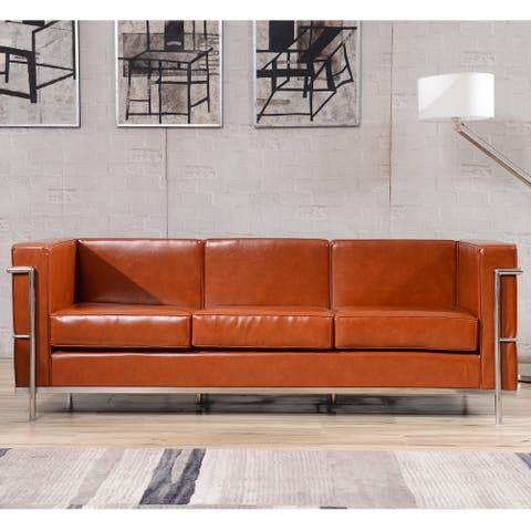 """Contemporary LeatherSoft Sofa with Double Bar Encasing Frame - 79""""W x 28.5""""D x 27.5""""H"""