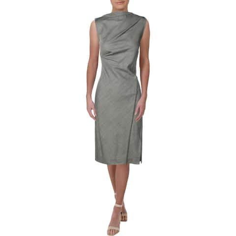 Narciso Rodriguez Womens Wear to Work Dress Pintuck Drape Neck - Black/White Tropical - 46