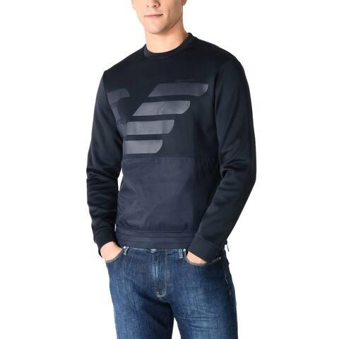 Armami Jeans Mens Eagle Logo Tech Sweatshirt Large Navy Blue