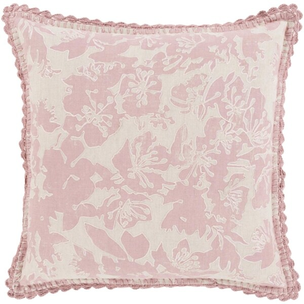 "18"" Powder Pink and Dove Gray Floral Woven Decorative Throw Pillow"