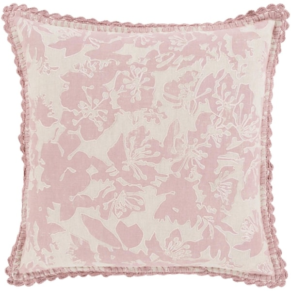 "20"" Powder Pink and Dove Gray Floral Woven Decorative Throw Pillow"