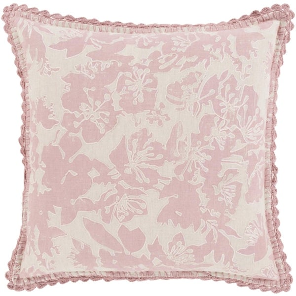 """22"""" Powder Pink and Dove Gray Floral Woven Decorative Throw Pillow-Down Filler"""