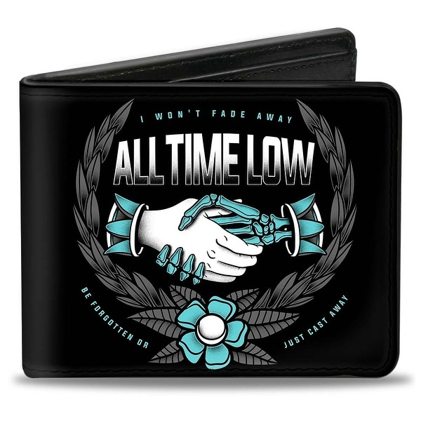 All Time Low I Won't Fade Away Handshake Crest Black Grays Turquoise White Bi-Fold Wallet - One Size Fits most