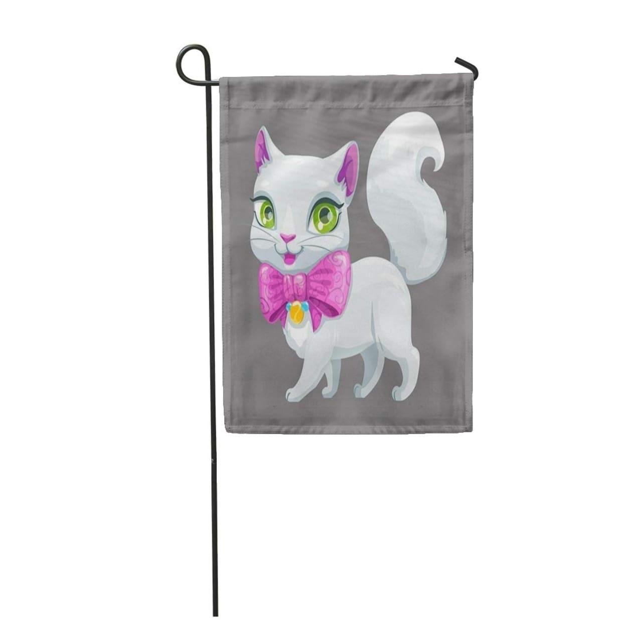 Shop Pink Kitten Cute Cartoon Fluffy White Cat Kitty Girl Adorable Beautiful Big Garden Flag Decorative Flag House Banner On Sale Overstock 31350115