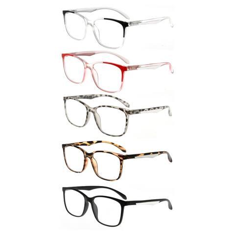Eyekepper 5 Pack Reading Glasses Women Large Frame Readers Men