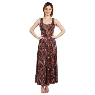 24seven Comfort Apparel Annie Rust and Blue Print Long Dress