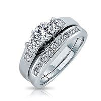 Bling Jewelry Silver Past Present Future CZ Engagement Wedding Ring Set