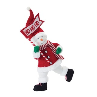 """23"""" Red and White Snowman with Flag Christmas Tabletop Figurine"""