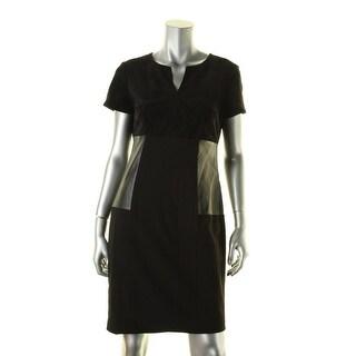 Calvin Klein Womens Casual Dress Mixed Media Sheath