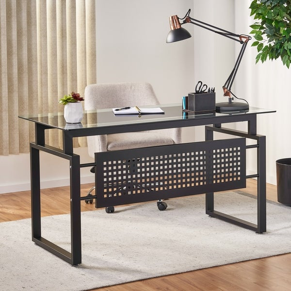 Fiske Modern Tempered Glass Office Computer Desk by Christopher Knight Home. Opens flyout.