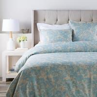 Alice Blue and Cloud Gray Elegant Blossom Dreams Linen Decorative King Set