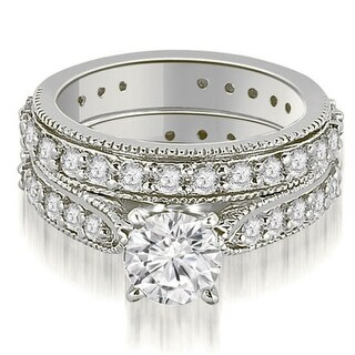 2.25 CT.TW Cathedral Round Cut Eternity Diamond Engagement Matching Set in 14KT - White H-I