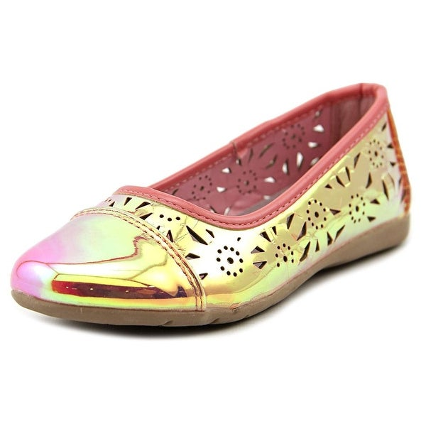 Kensie Girl Holographic Cutout Flat  Youth  Cap Toe Synthetic Pink Flats