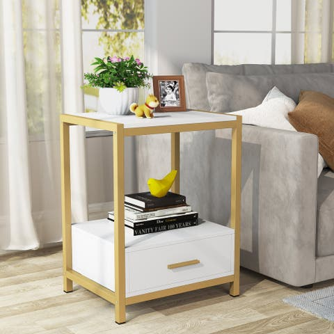 Nightstands,Bedside Table End Table Side Table with Drawers and Storage Shelf