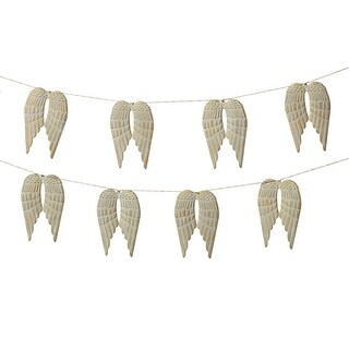 """Set of 4 Light Gray and Cream White Metal Decorative Angel Wing Garland 72"""""""