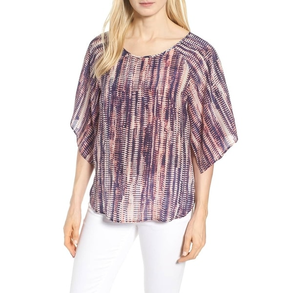 Nic + Zoe Purple Womens Size Small S Kimono-Sleeve Printed Blouse