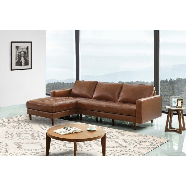 Abbyson Holloway Mid-century Top-grain Leather Sectional. Opens flyout.