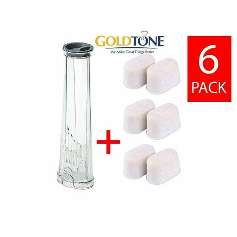 Goldtone (6 Pack) Ion Exchange Resin Water Filters + Holder Combo - Replaces KEURIG 2.0 and BREVILLE BWF100 Filters and Holders