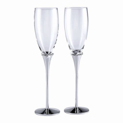 """10.25"""" Nouveau Clear Glass Toasting Flutes with Crystals"""